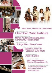 Promotional Flyer for 2014 Marian Anderson String Quartet Summer Chamber Music Institute